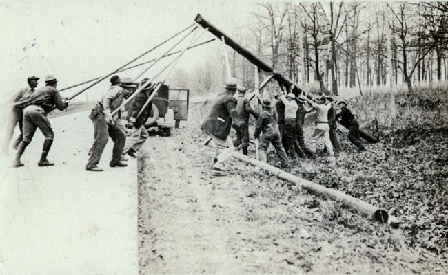 The first electric power pole raised on the ACE Power system in 1934